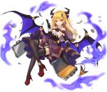1girl :d ark_order bangs black_corset black_gloves black_legwear blonde_hair blue_bow bow briefcase cape card center_frills corset credit_card dango_remi demon_girl demon_horns demon_tail demon_wings dollar_bill dollar_hair_ornament dollar_sign elbow_gloves flat_chest frills full_body garter_straps gloves gold_bar hair_bow hair_ornament high_heels holding holding_card horns lace-trimmed_legwear lace_trim long_hair looking_at_viewer mammon_(ark_order) money official_art open_mouth pointy_ears purple_cape purple_skirt red_bow red_footwear shirt shoes skirt sleeveless sleeveless_shirt smile solo suitcase tachi-e tail thigh-highs transparent_background very_long_hair white_shirt wings yellow_eyes