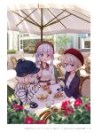 3girls :d blonde_hair blue_eyes blue_headwear blurry blurry_foreground blush choker closed_mouth collarbone collared_shirt day flower hair_flower hair_ornament highres holding holding_phone hoshikawa_hotaru jacket long_sleeves multiple_girls new_game! official_art open_clothes open_jacket open_mouth outdoors page_number parasol phone pink_hair purple_jacket red_flower red_headwear sakura_nene shiny shiny_hair shirt short_hair sitting sleeves_past_wrists smile striped striped_sweater sunlight suzukaze_aoba sweater tokunou_shoutarou twintails umbrella vertical-striped_jacket vertical_stripes violet_eyes white_choker white_flower white_shirt wing_collar