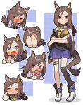 1girl =_= air_groove_(umamusume) amonitto animal_ears bangs blue_skirt blush boots brown_hair brown_shirt chibi closed_eyes eyebrows_visible_through_hair gift hair_between_eyes high_heel_boots high_heels highres holding holding_gift horse_ears horse_girl horse_tail multiple_views nose_blush open_mouth parted_bangs parted_lips pleated_skirt puffy_short_sleeves puffy_sleeves purple_shirt school_uniform shirt short_sleeves skirt tail teeth tracen_school_uniform umamusume upper_teeth violet_eyes wavy_mouth white_footwear wide_sleeves