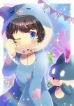 1girl animal_costume animal_ears bangs black_hair blue_eyes blurry blurry_background blush closed_mouth commission depth_of_field fake_animal_ears hood hood_up kou_hiyoyo long_sleeves munchlax one_eye_closed original pennant pig_costume pig_ears pig_hood pokemon pokemon_(game) skeb_commission sleeves_past_wrists string_of_flags waking_up wavy_mouth wide_sleeves