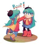 2girls a_hat_in_time bangs beret black_legwear blue_eyes blue_hair blue_pants blue_skirt boots brown_footwear bzzt_gcxll cape clenched_hands cosplay crossover english_text finger_to_another's_nose hat hat_kid highres hilda_(hilda) hilda_(hilda)_(cosplay) hilda_(series) jacket long_hair looking_at_another medium_hair multiple_girls pants poking_nose ponytail pullover red_footwear red_jacket scarf signature simple_background skirt sound_effects surprised wide-eyed
