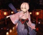 1girl absurdres black_gloves blonde_hair bow character_name choker commentary_request dated floral_print girls_frontline gloves hair_bow hair_over_shoulder hakama hakama_skirt highres japanese_clothes kimono long_hair looking_at_viewer night official_alternate_costume ots-14_(girls'_frontline) outdoors pink_kimono ponytail print_kimono skirt smile solo twitter_username xia_oekaki yellow_eyes