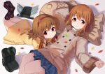 2girls backpack backpack_removed bag boots boots_removed brown_eyes brown_hair coat crossover hagiwara_yukiho hairband head_rest idolmaster idolmaster_(classic) kanon leaf long_hair lying miniskirt multiple_girls on_back on_stomach red_eyes short_hair skirt smile tagame_(tagamecat) tsukimiya_ayu winter_clothes