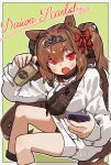 1girl :o amonitto animal_ears bangs blush bow breasts brown_hair character_name coffee_cup cropped_legs cup daiwa_scarlet_(umamusume) disposable_cup drawstring eyebrows_visible_through_hair fang fanny_pack green_background hair_between_eyes hair_bow hair_intakes highres holding holding_cup holding_phone hood hood_down hoodie horse_ears horse_girl horse_tail long_hair long_sleeves looking_at_viewer mask mask_pull medium_breasts mouth_mask open_mouth phone red_bow red_eyes sitting sleeves_past_wrists solo tail tiara twintails umamusume very_long_hair white_hoodie