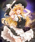 1girl apron bangs black_headwear black_skirt black_vest blonde_hair blush bow braid commentary_request cowboy_shot hair_bow hand_on_headwear hand_up hat hat_bow kirisame_marisa long_hair looking_at_viewer okawa_friend open_mouth pointing pointing_at_viewer shirt short_sleeves single_braid skirt smile solo star_(sky) starry_background teeth touhou upper_teeth vest waist_apron white_bow white_shirt witch_hat yellow_eyes
