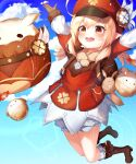 1girl :d absurdres ahoge arms_up backpack bag bag_charm bangs bloomers blue_sky boots brown_footwear brown_gloves brown_scarf cabbie_hat charm_(object) clouds cloudy_sky clover_print coat commentary_request dodoco_(genshin_impact) eyebrows_visible_through_hair genshin_impact gloves hair_between_eyes hat hat_feather hat_ornament highres jumping jumpy_dumpty kimae klee_(genshin_impact) knee_boots kneehighs light_brown_hair long_hair long_sleeves looking_at_viewer low_twintails open_mouth orange_eyes outstretched_arms pocket pointy_ears randoseru red_coat red_headwear scarf sidelocks sky smile solo spread_arms sunlight throwing twintails underwear