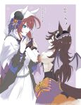 2girls adjusting_another's_clothes adjusting_clothes animal_ears bat_wings blue_eyes blush border bow brown_hair chain cloak commentary_request fang flying_sweatdrops frilled_hairband frills gloves hairband hat highres hood hood_up hooded_cloak horse_ears horse_girl horse_tail kpaoi large_bow long_hair looking_at_another make_up_in_halloween!_(umamusume) mihono_bourbon_(umamusume) mini_hat mini_top_hat multiple_girls open_mouth outside_border puffy_short_sleeves puffy_sleeves purple_gloves rice_shower_(umamusume) short_sleeves skin_fang sweatdrop tail top_hat translation_request umamusume white_border wings