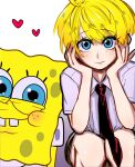 blonde_hair blue_eyes brown_shorts cute gijinka human humanization red_tie shota spongebob_squarepants spongebob_squarepants_(character) white_shirt