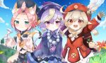 3girls :3 :d animal_ears arms_up backpack bag bag_charm bangs bangs_pinned_back bead_necklace beads belt black_shorts bloomers blue_sky blurry blush braid braided_ponytail brown_footwear brown_gloves brown_scarf cabbie_hat cape cat_ears cat_girl cat_tail charm_(object) chinese_clothes clouds cloudy_sky clover_print coat cocktail_glass coin_hair_ornament commentary_request cup depth_of_field detached_sleeves diona_(genshin_impact) dodoco_(genshin_impact) drinking_glass eyebrows_visible_through_hair flower forehead genshin_impact gloves grass green_eyes hair_between_eyes hair_ribbon hat highres holding holding_cup jewelry jiangshi klee_(genshin_impact) light_brown_hair long_hair long_sleeves looking_at_viewer low_ponytail low_twintails midriff miuna_(user_dunp3235) multiple_girls navel necklace ofuda open_mouth outstretched_arms petals pink_hair pocket pointy_ears puffy_detached_sleeves puffy_shorts puffy_sleeves purple_hair qing_guanmao qiqi_(genshin_impact) randoseru red_coat red_eyes red_headwear ribbon scarf short_hair shorts sidelocks signature single_braid sky smile spread_arms tail thick_eyebrows tree twintails underwear v_arms violet_eyes waving white_gloves wind