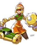 1girl :d arms_(game) beanie blonde_hair bob_cut breasts brown_legwear cannon chinese_clothes cropped_legs eye_mask green_eyes hat highres medium_breasts medium_hair min_min_(arms) open_mouth orange_headwear orange_shorts pantyhose ryuusei_(mark_ii) shorts signature simple_background smile solo standing super_smash_bros. white_background