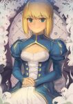 1girl ahoge armchair artoria_pendragon_(fate) bangs blonde_hair blue_dress boa_(brianoa) braid braided_bun breasts buttons chair cleavage_cutout closed_mouth clothing_cutout commentary cross-laced_clothes dress english_commentary eyebrows_visible_through_hair fate/stay_night fate_(series) flower green_eyes hair_bun hands_on_lap high_collar highres juliet_sleeves light_blush lily_(flower) long_sleeves looking_at_viewer own_hands_together puffy_sleeves saber short_hair sidelocks sitting small_breasts smile solo twitter_username white_flower