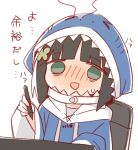 >_< 1girl :d ayanepuna bangs black_hair blue_hoodie blush chair cosplay drawstring eyebrows_visible_through_hair gawr_gura gawr_gura_(cosplay) green_eyes holding holding_stylus hololive hololive_english hood hood_up hoodie long_sleeves nose_blush office_chair open_mouth original simple_background smile solo steam stylus translation_request upper_body virtual_youtuber white_background wide_sleeves