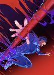 1boy armor beads blue_bodysuit blue_hair bodysuit cu_chulainn_(fate) cu_chulainn_(fate/stay_night) earrings fate/stay_night fate_(series) floating_hair foreshortening from_side gae_bolg_(fate) hair_beads hair_ornament hal_(haaaalhal) highres jewelry jumping long_hair male_focus muscular muscular_male open_mouth pauldrons pectorals ponytail red_eyes shoulder_armor signature skin_tight solo spiky_hair