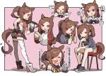 1girl :> :d :o :t amonitto animal_ears asymmetrical_gloves bangs bare_shoulders black_bow black_gloves black_shirt black_shorts blue_jacket bow brown_hair closed_mouth cup disposable_cup eating epaulettes eyebrows_visible_through_hair food food_on_face gloves hair_down hand_on_hip highres holding holding_cup holding_food horse_ears horse_girl horse_tail jacket long_hair mismatched_gloves multiple_views open_clothes open_jacket open_mouth pink_shirt ponytail puffy_short_sleeves puffy_sleeves purple_shirt sakura_bakushin_o_(umamusume) sakura_mochi school_uniform shaded_face shirt short_shorts short_sleeves shorts sleeveless sleeveless_shirt smile sweat swept_bangs tail teeth tracen_school_uniform track_jacket translation_request triangle_mouth umamusume upper_teeth very_long_hair wagashi white_gloves white_jacket white_shorts