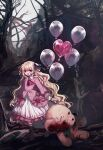 1girl balloon bangs bare_tree black_footwear black_legwear blonde_hair blood blood_on_face blood_on_hands blood_on_knife boots commentary danjou_sora dress eyebrows_visible_through_hair frilled_dress frills heart_balloon highres holding holding_knife knife long_sleeves original pink_dress puffy_long_sleeves puffy_sleeves socks solo stuffed_animal stuffed_toy symbol-only_commentary teddy_bear tree