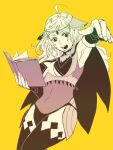 1girl 9wa ahoge bangs bodystocking book cape covered_navel fire_emblem fire_emblem_fates holding holding_book holding_weapon long_hair open_mouth ophelia_(fire_emblem) sketch solo thigh-highs weapon