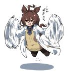 1girl agnes_tachyon_(umamusume) ahoge animal_ears bangs blue_neckwear brown_hair datemegane flapping flying hair_intakes highres horse_ears labcoat medium_hair motion_lines necktie open_mouth shadow simple_background smile solo sweater translation_request umamusume white_background yellow_sweater