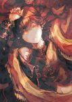 1girl arms_up bare_shoulders brown_hair closed_mouth earrings eyebrows_visible_through_hair eyelashes frills hair_between_eyes highres holding holding_ribbon ito_(silva) jewelry long_eyelashes long_hair lying mole mole_on_neck navel on_back orange_eyes original ribbon single_bare_shoulder solo tagme
