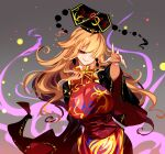 1girl black_headwear blonde_hair breasts chinese_clothes closed_mouth crescent crescent_pin energy hair_over_one_eye highres junko_(touhou) large_breasts long_hair polos_crown raptor7 red_eyes sleeves_past_fingers sleeves_past_wrists smile solo tabard touhou upper_body wide_sleeves