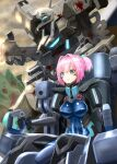 1girl alien beta_(muvluv) blood blood_splatter blue_eyes cockpit covered_nipples crossover fortified_suit fusou_(fuso0205) highres kantai_collection mecha muvluv muvluv_alternative namesake pilot_suit pink_hair science_fiction scowl shiny shiranui_(kancolle) sitting skin_tight solo_focus tactical_surface_fighter tied_hair type_94_shiranui v-shaped_eyebrows visor