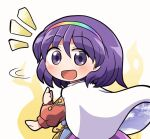 1girl :d bangs cape eyebrows_visible_through_hair long_sleeves looking_at_viewer looking_back multicolored multicolored_clothes multicolored_hairband open_mouth patchwork_clothes purple_hair rainbow_gradient rokugou_daisuke short_hair signature sky_print smile solo tenkyuu_chimata touhou violet_eyes white_cape