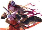 1girl bandeau bangs bare_shoulders black_hair brown_eyes cherry_blossoms collarbone commentary_request drawing_sword fingernails gradient_hair gurenge haori highres holding holding_sword holding_weapon japanese_clothes jewelry katana kimetsu_no_yaiba lisa_(singer) long_hair mask mask_on_head multicolored_hair nail_polish necklace oni_mask petals purple_hair red_nails sarashi sheath solo sword unsheathing weapon wedo