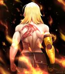 1girl back_tattoo belt blonde_hair butt_crack clenched_hands dragon_tattoo english_commentary fire from_behind hair_over_shoulder highres lulu-chan92 mechanical_arms medium_hair muscular muscular_female pants reward_available rwby shoulder_blades single_mechanical_arm solo tattoo topless yang_xiao_long