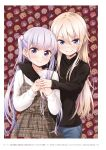 2girls ahoge arm_around_neck bangs black_sweater blonde_hair blue_eyes blunt_bangs blush brown_dress closed_mouth copyright_name dress eyebrows_visible_through_hair hair_between_eyes hand_on_hand highres long_hair long_sleeves looking_at_viewer multiple_girls new_game! official_art page_number pinafore_dress plaid plaid_dress silver_hair sleeves_past_wrists smile standing straight_hair suzukaze_aoba sweater tokunou_shoutarou twintails very_long_hair violet_eyes white_sweater yagami_kou