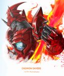1other absurdres anniversary armor blue_eyes blurry blurry_foreground character_request core digimon digimon_(creature) digimon_savers fire full_armor helmet highres holding_flame horns jiyuuya mecha shinegreymon shinegreymon_burst_mode simple_background solo_focus sparkle upper_body white_background