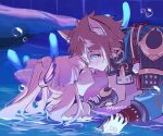 1boy 1girl animal_ear_fluff animal_ears aqua_eyes armor bangs blue_eyes blush brown_hair bubble closed_eyes crossed_bangs dress fox_boy fox_ears frilled_dress frills genshin_impact gloves gorou_(genshin_impact) gradient_hair half_gloves hand_on_another's_arm hands_on_another's_arms hands_on_another's_wrists in_water japanese_armor looking_at_another mao_(expuella) moon_(ornament) multicolored_hair noses_touching pink_hair ponytail sangonomiya_kokomi signature smile streaked_hair twitter_username water white_hair