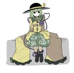 1girl bangs black_footwear black_headwear breasts collared_shirt floral_print frilled_shirt_collar frilled_sleeves frills full_body green_hair green_skirt hat hat_ribbon heart heart_of_string highres komeiji_koishi long_sleeves looking_at_viewer medium_breasts medium_hair no_nose oversized_clothes oversized_shirt peroponesosu. ribbon shirt shoes simple_background sitting skirt sleeves_past_fingers sleeves_past_wrists solo third_eye touhou white_background wide_sleeves yellow_shirt