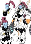 1girl armor blue_skin braid breastplate cannon closed_mouth colored_skin commentary greaves highres huge_weapon looking_at_viewer monster_girl multiple_views no_nose open_mouth pauldrons portrait red_eyes ryuusei_(mark_ii) shoulder_armor signature single_braid tau warhammer_40k weapon