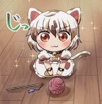 1girl :3 ahoge animal_ears artist_name bangs bell black_wristband blush brown_hair calico cat_ears cat_tail cat_teaser eyebrows_visible_through_hair goutokuji_mike hands_on_own_knees jingle_bell looking_at_viewer multicolored_hair patchwork_clothes puffy_short_sleeves puffy_sleeves red_eyes rokugou_daisuke seiza short_hair short_sleeves sitting solo sparkle sparkling_eyes streaked_hair tail touhou v-shaped_eyebrows white_hair wooden_floor wool