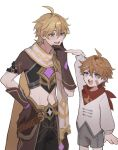 2boys aether_(genshin_impact) ahoge bandaid bandaid_on_cheek bandaid_on_face bangs blonde_hair blue_eyes braid brown_gloves child eyebrows_visible_through_hair genshin_impact gloves grey_shorts ha_ze hair_between_eyes hand_on_hip hand_on_own_chin height_difference highres long_hair long_sleeves male_focus multiple_boys open_mouth orange_hair short_sleeves shorts simple_background single_braid tartaglia_(genshin_impact) teeth upper_teeth white_background yellow_eyes younger