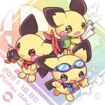 backpack bag blue_neckwear bomb brown_eyes character_name closed_mouth commentary_request dated goggles goggles_on_head green_bag green_eyes holding holding_bomb holding_wand kuo no_humans pichu pokemon pokemon_(creature) red_neckwear smile star_(symbol) wand