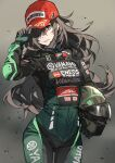 1girl arm_up baseball_cap biker_clothes bikesuit bodysuit brown_eyes brown_hair clothes_writing commentary cowboy_shot fingerless_gloves gloves green_bodysuit green_gloves grey_background hair_over_one_eye hand_on_headwear hat helmet highres holding holding_helmet komeo15 long_hair looking_at_viewer motorcycle_helmet one_eye_covered original product_placement red_headwear solo standing