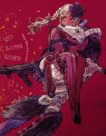 1boy 1girl apex_legends black_hair black_sclera bootlegger_loba bow braid carrying colored_sclera grey_eyes gun hair_bow holding holding_gun holding_weapon humanoid_robot jacket loba_(apex_legends) looking_ahead princess_carry r-99_smg red_background red_bow red_jacket revenant_(apex_legends) science_fiction shourou_kanna silver_hair simulacrum_(titanfall) sparkle submachine_gun twin_braids unholy_beast_revenant weapon