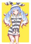 1girl :o absurdres animal_ears bangs blue_hair bound bound_wrists braid contrapposto cuffs dress handcuffs highres hololive long_hair looking_to_the_side multicolored_hair official_alternate_costume orange_eyes quarterlift rabbit_ears rabbit_girl short_dress short_eyebrows solo standing striped striped_dress thick_eyebrows torn_clothes torn_dress twin_braids two-tone_hair usada_pekora virtual_youtuber white_hair yellow_background