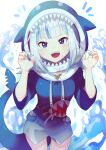 :d absurdres animal_costume animal_hood blue_eyes blue_hair blue_hoodie blue_nails breasts cowboy_shot fish_tail gawr_gura giirl highres hololive hololive_english hood hood_up hoodie looking_at_viewer medium_hair multicolored_hair offbeat open_mouth shark_costume shark_girl shark_hood shark_tail sharp_teeth silver_hair smile solo streaked_hair tail teeth virtual_youtuber water white_background wide_sleeves