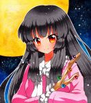 1girl bangs black_hair black_sky blouse blue_sky bow bowtie breasts buttons closed_mouth collar collared_blouse eyebrows_visible_through_hair gradient gradient_sky hair_between_eyes hands_up houraisan_kaguya long_hair long_sleeves looking_at_viewer medium_breasts moon multicolored multicolored_eyes night night_sky orange_eyes pink_blouse pink_sleeves qqqrinkappp red_eyes shikishi sky smile solo star_(sky) starry_sky touhou traditional_media treasure white_bow white_neckwear wide_sleeves yellow_eyes yellow_moon