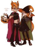 1boy 1girl agent_3_(splatoon) agent_8_(splatoon) bangs black_cape black_dress black_footwear black_gloves black_headwear black_legwear black_pants black_shirt blunt_bangs boots brown_cape cape closed_mouth commentary dated demon_horns dress fake_horns fingerless_gloves gloves grin halloween halloween_bucket halloween_costume hat holding horns inkling light_frown long_hair long_sleeves medium_dress midriff mohawk navel octoling orange_eyes orange_hair orange_headwear orange_horns pants pantyhose pointy_ears pointy_footwear red_cape shirt short_hair side-by-side simple_background sleeveless sleeveless_shirt smile splatoon_(series) stomach_tattoo suction_cups tattoo translated two-sided_cape two-sided_fabric two-sided_headwear white_background witch_hat yeneny