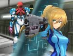 1girl arm_cannon armor ass bangs blonde_hair blue_eyes breasts glowing gun hair_ornament helmet highres jewelry long_hair looking_at_viewer metroid metroid_(classic) metroid_dread mole mole_under_mouth ponytail power_armor power_suit samus_aran science_fiction sidelocks simple_background solo upper_body vanishingknife visor weapon zero_suit
