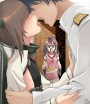 1boy 2girls admiral_(kancolle) alexzhang anger_vein apron brown_hair commentary_request flat_chest grey_hair headband headgear heart heart_print hetero high_ponytail highres japanese_clothes kantai_collection long_hair long_sleeves military military_uniform multiple_girls muneate naval_uniform omelet pink_apron plate revision taihou_(kancolle) tamagoyaki uniform zuihou_(kancolle)