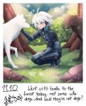 1boy :d ahoge android animal bangs bush cheer_(cheerkitty14) commentary danganronpa_(series) danganronpa_v3:_killing_harmony english_commentary english_text from_side grass green_eyes grey_hair highres keebo long_sleeves looking_at_animal male_focus open_mouth outdoors power_armor short_hair smile teeth tree upper_teeth wolf