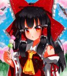 1girl absurdres ascot bandages bangs bare_shoulders black_hair blue_sky bow breasts cherry_blossoms collar collared_dress dango dress eyebrows_visible_through_hair food grass hair_between_eyes hair_ornament hair_tubes hakurei_reimu hand_up highres long_hair long_sleeves looking_at_viewer medium_breasts multicolored multicolored_eyes open_mouth orange_eyes qqqrinkappp red_bow red_dress red_eyes shikishi sky solo touhou traditional_media tree wagashi white_sleeves wide_sleeves yellow_eyes yellow_neckwear
