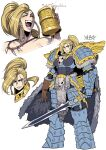 1girl :d adeptus_astartes animal_skull armor beer_mug blonde_hair blue_eyes blush boobplate breastplate cape clenched_teeth closed_mouth cup fang fang_out fangs fur_cape gauntlets genderswap genderswap_(mtf) greaves highres holding holding_cup holding_sword holding_weapon leman_russ long_hair looking_at_viewer mug multiple_views open_mouth pauldrons pelt pelvic_curtain ponytail ryuusei_(mark_ii) scar scar_across_eye shoulder_armor shoulder_spikes side_braids signature simple_background smile space_wolves spikes sword tankard teeth tooth_necklace warhammer_40k weapon white_background