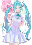1girl absurdres arms_behind_back balloon bandaid bangs blue_eyes blue_hair blush breasts buttons closed_mouth commentary_request cowboy_shot cross cross_hair_ornament dress eyebrows_visible_through_hair hair_ornament hairpin hat hatsune_miku higasizora-kai highres jar long_hair looking_at_viewer medicine nurse nurse_cap pill pleated_skirt short_sleeves skirt sleeve_cuffs small_breasts smile solo standing stethoscope twintails very_long_hair vocaloid white_background white_dress