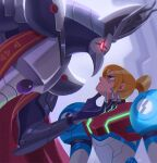 1boy 1girl angry armor beak blonde_hair cape claws difdifme eye_contact glaring glowing glowing_eyes hand_on_another's_face looking_at_another metroid metroid_dread ponytail power_suit power_suit_(metroid) raven_beak_(metroid) red_cape red_eyes samus_aran scar serious size_difference upper_body