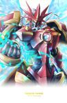 1other absurdres angel angel_wings armor artist_name breastplate clenched_hand digimon digimon_(creature) digimon_tamers dukemon_crimson_mode full_armor glowing helmet highres jiyuuya mecha no_humans shoulder_armor simple_background sparkle upper_body white_background wings yellow_eyes