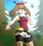 1girl absurdres bangs bike_shorts bike_shorts_under_shorts blue_eyes blurry bracelet breasts brown_hair clenched_hand closed_mouth clouds commentary dark_n day eyebrows_visible_through_hair hand_up highres holding holding_poke_ball jewelry leaf leaves_in_wind may_(pokemon) outdoors poke_ball poke_ball_(basic) pokemon pokemon_(game) pokemon_oras shirt shorts sky sleeveless sleeveless_shirt smile solo split_mouth tree twintails white_shorts
